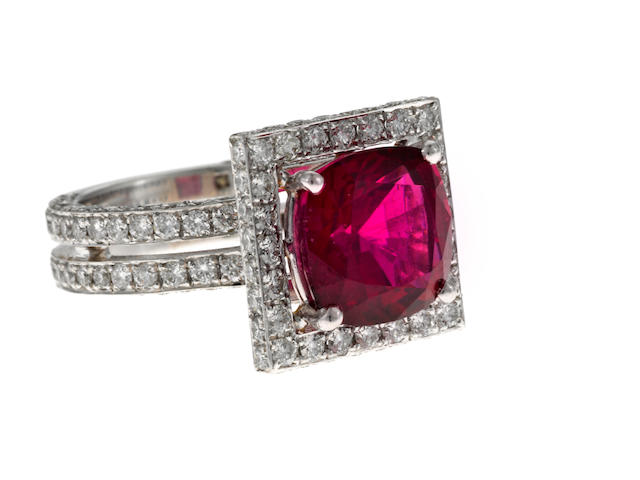 A rubellite, diamond and 18k white gold ring