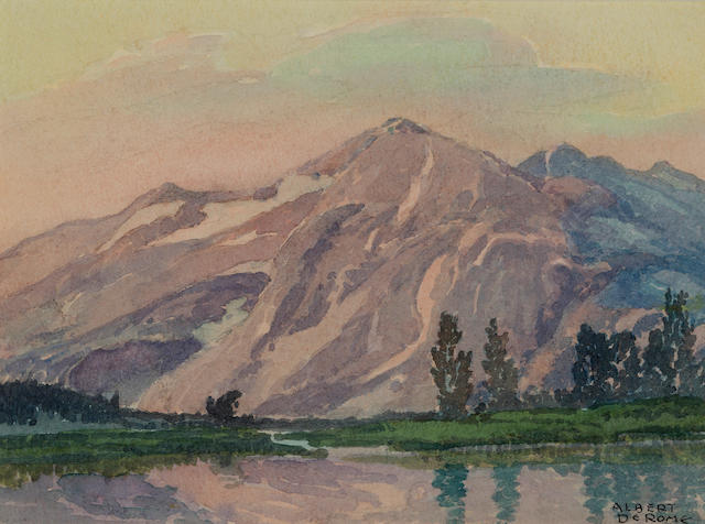 Albert Thomas DeRome (American, 1885-1959) Kuna Crest, Mammoth Peak, Evening, Tuolumne Meadows 6 x 8in