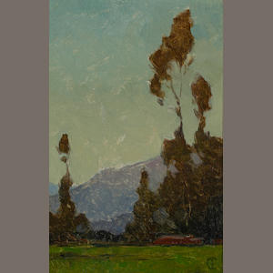 Frank Tolles Chamberlin (American, 1873-1961) Eucalyptus with mountains beyond 10 x 6 1/2in