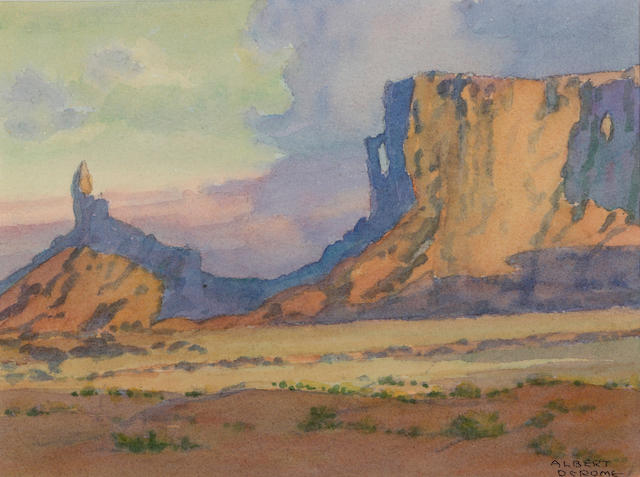 Albert Thomas DeRome (American, 1885-1959) The Rooster, Monument Valley sight: 5 3/4 x 7 3/4in