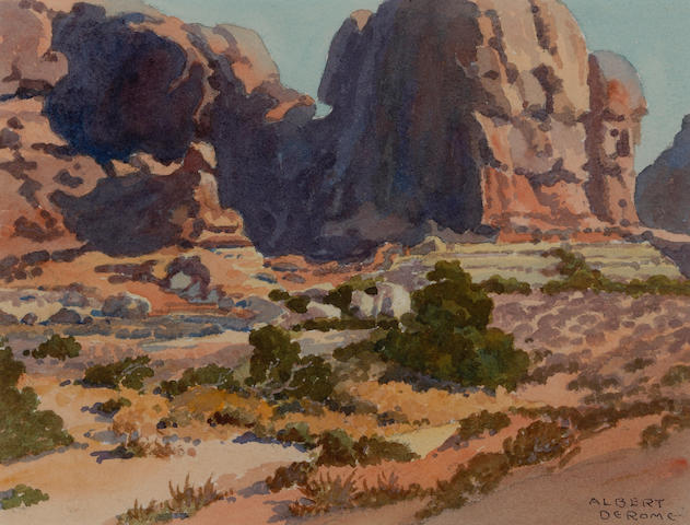 Albert Thomas DeRome (American, 1885-1959) Arches National Park, Sheep Rock sight: 5 3/4 x 7 3/4in