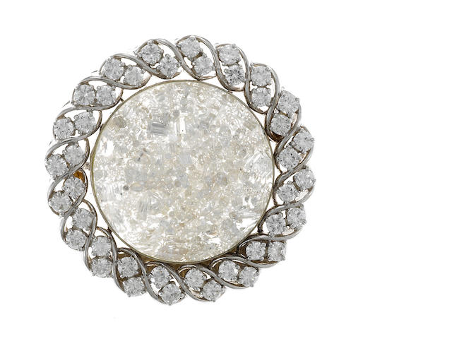 A diamond and 18k white gold brooch
