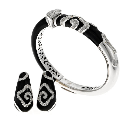 An enamel, diamond and 18k white gold bangle and matching pair of earrings, La Nouvelle Bague