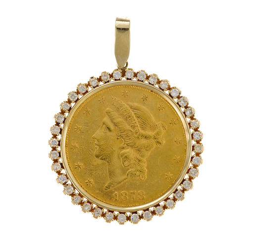 A 1878 US $20.00 gold coin, diamond and gold pendant
