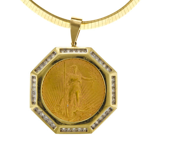 A $20.00 1911 gold coin, diamond and 14k gold  omega necklace