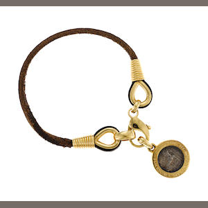 An ancient coin, 18k gold and leather bracelet, Bulgari