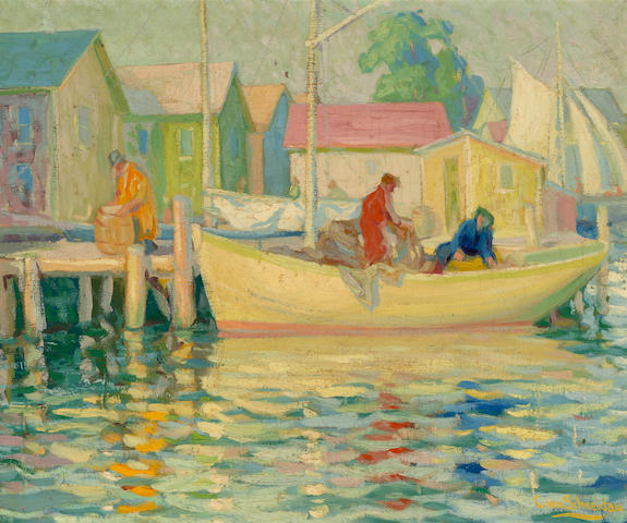 Christian von Schneidau (Swedish, 1893-1976) Fishermen at harbor 20 x 24in