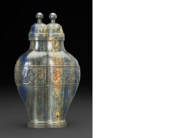 A lapis lazuli conjoint double vase