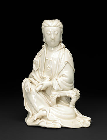 A seated blanc de chine porcelain Guanyin