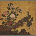 A Japanese two-panel peacock screen. Inscribed: Kujaku Hogen, Shumboku