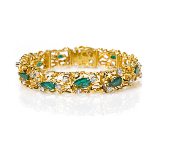 An emerald, diamond and 18k gold branch bracelet