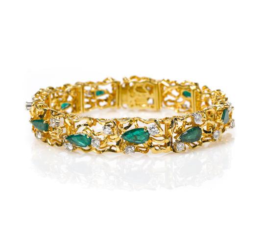 An emerald, diamond and 18k gold branch bracelet