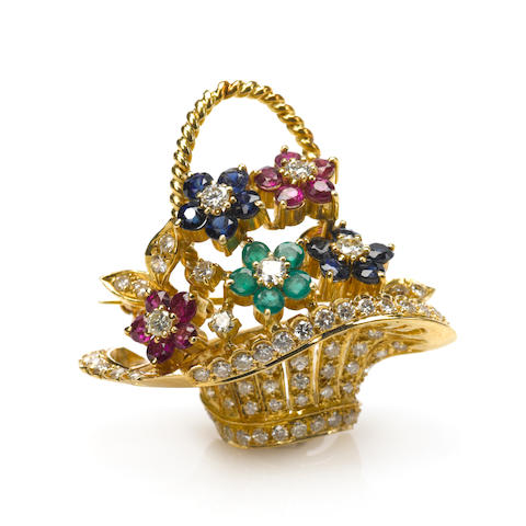 A gem-set and 18k gold flower bouquet brooch