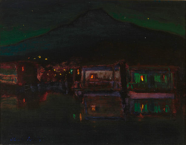 Charles Rollo Peters (American, 1862-1928) Houseboats in moonlight, Greenbrae 11 x 14in