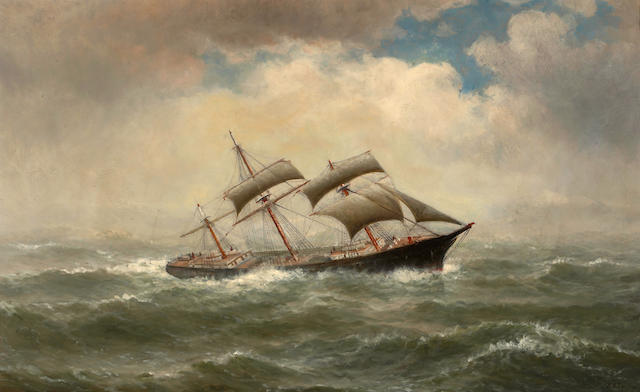 William Alexander Coulter (1849-1936) Sailing ship in rough seas 26 1/4 x 42in
