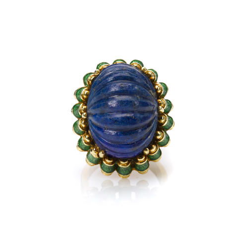 A lapis lazuli, enamel and 18k gold ring