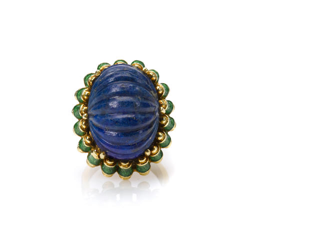 A lapis lazuli, enamel and 18k gold ring, Tiffany