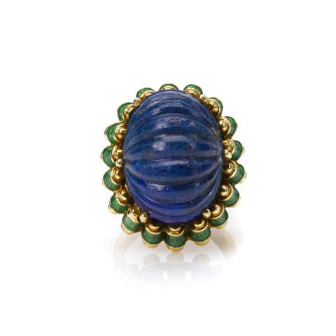 A lapis lazuli, enamel and 18k gold ring, Tiffany