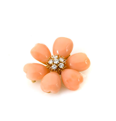 A coral, diamond and 18k gold floral brooch