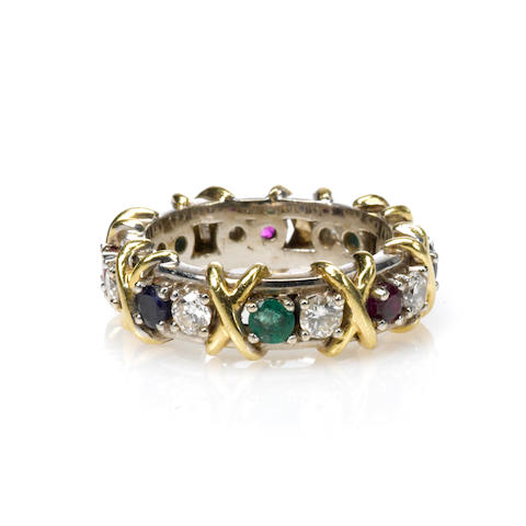 "A ruby, emerald, diamond, sapphire and gold ""X"" motif ring"