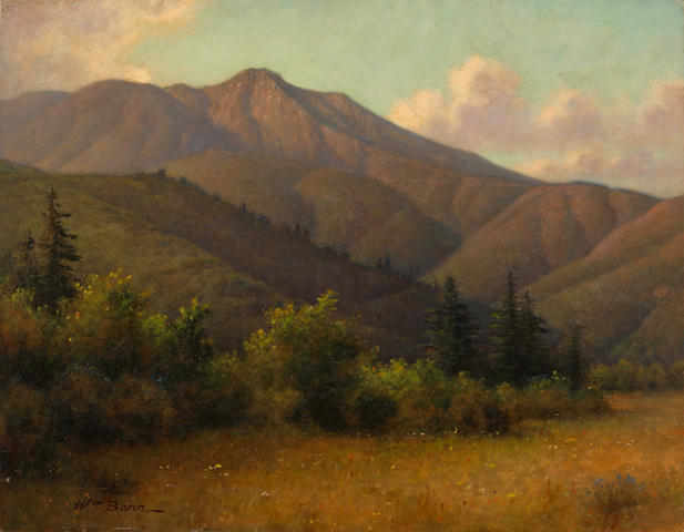 William Barr (British/American, 1867-1933) Mount Tamalpais with redwoods 20 1/4 x 26in