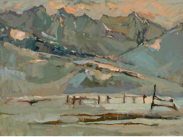 Si Chen Yuan (1911-1974) Wheeler's Peak, sunset 36 x 48in