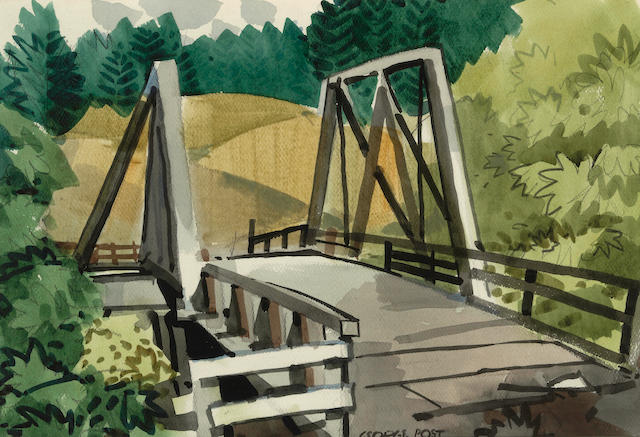 George Booth Post (American, 1906-1997) Pescadero Bridge, 1954 15 x 21 1/4in