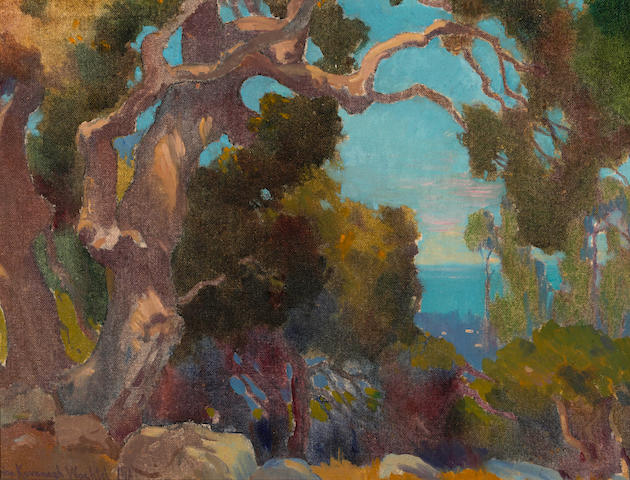 Marion Kavanagh Wachtel (American, 1870-1954) Old Eucalyptus; Mountain lake (double-sided) 13 x 17in