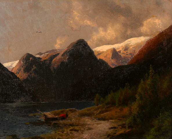 Hermann Herzog (German/American, 1832-1932) Mountain lake 12 x 15in
