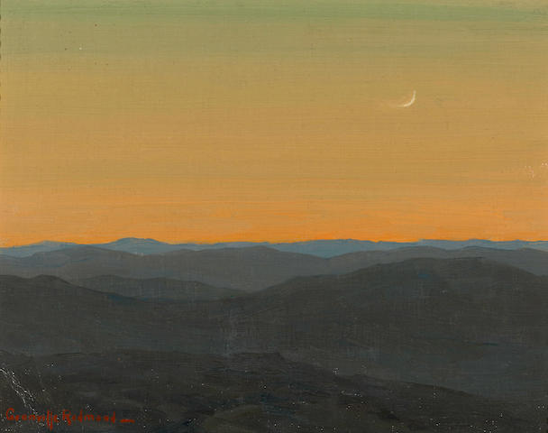 Granville Redmond (American, 1871-1935) Moon at dusk 10 3/4 x 14in