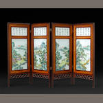 A four panel small table screen with porcelain plaque decoration The plaques with landscape and inscriptions.