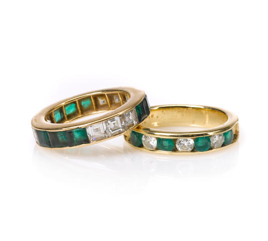 Two emerald, diamond and gold bands