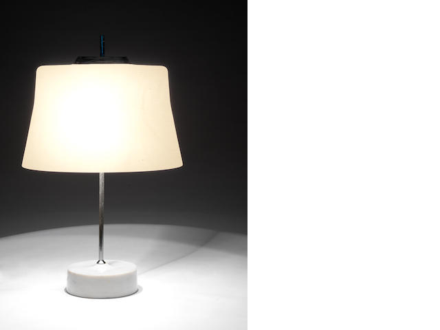 A Table Lamp attributed to Azucena, circa 1970  marble, chromed metal and opaque glass   Height: 22 1/16 in. 56 cm.