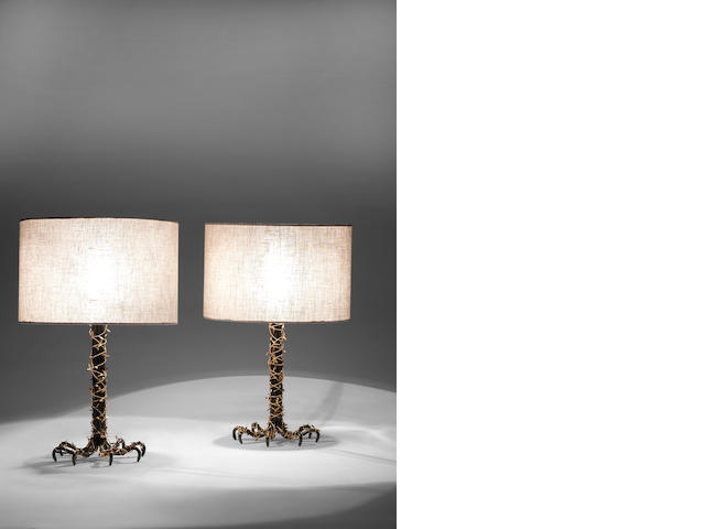 Paul Belvoir A Pair of Bramble Table Lamps 2011  wrought iron and gilt metal  Height: 14 3/16 in. 36 cm.