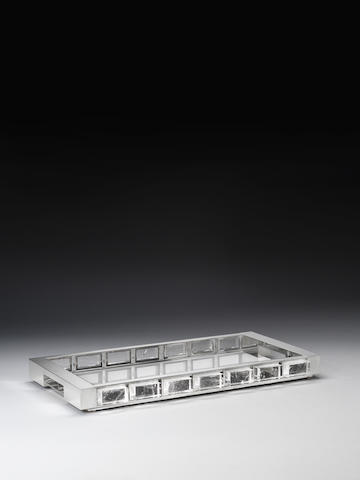 Paul Belvoir A Tray 2011  sterling silver and rock crystal hallmarked and stamped PGB to the underside of the base  19 11/16 x 11 1/4 x 1 9/16 in. 50 x 28.5 x 4cm.  This tray is unique.