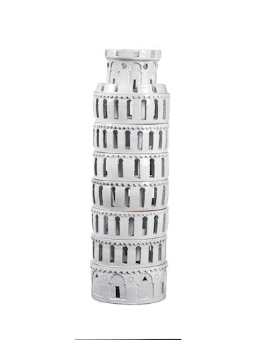 A Ceramic Sculpture of a Tower Italian  glazed earthenware, in eight sections  Height: 30 in. 76.2 cm.