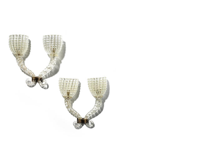 Barovier A Pair of Large Two Branch Wall Lights circa 1935  molded glass and bronzed metal  Height: 17 11/16 in. 45 cm.