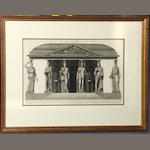Two engravings after Piranesi of building with caryatids and architectural details