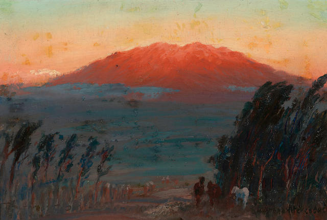David Howard Hitchcock (American, 1861-1943) Sunset on Mauna Kea 8 x 12in