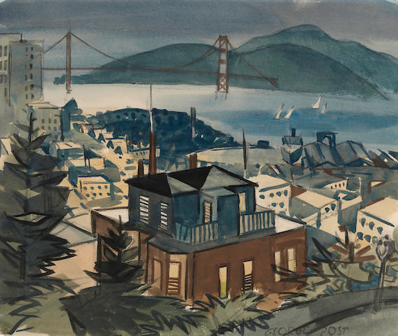 George Booth Post (American, 1906-1997) View of San Francisco with Golden Gate Bridge in the distance 15 x 18in