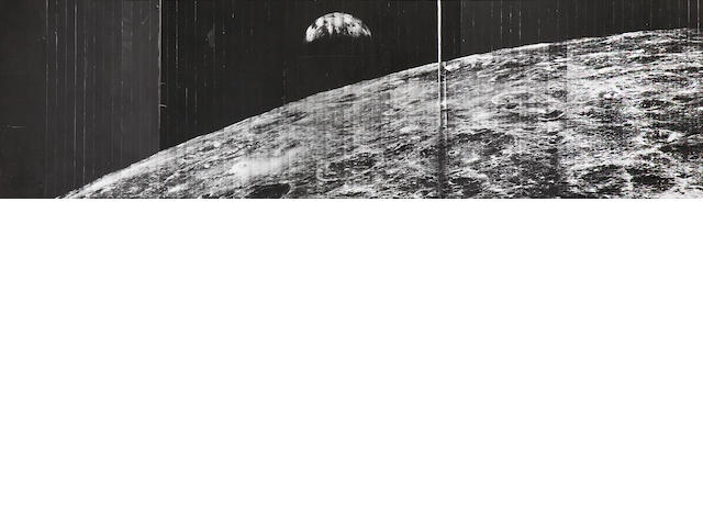 LUNAR ORBITER I. Telephoto panorama, being the first photograph of Earth from lunar orbit, with the craters Hilbert, Khvolson and Meitner in the foreground, August 23, 1966,