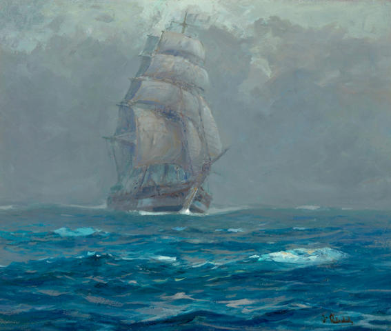 William Frederick Ritschel (American, 1864-1949) Coming though the fog, Pacific Ocean 25 1/4 x 30 1/4in