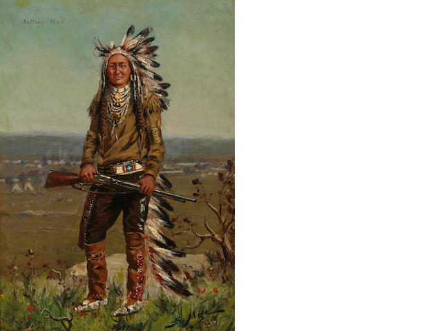 Salvador Mege (born 1854) Sitting Bull, 1889 14 X 10in