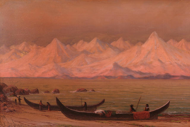 James Everett Stuart (American, 1852-1941) Glow of the midnight sun, Fairweather Range, Alaska, 1898 8 x 12in