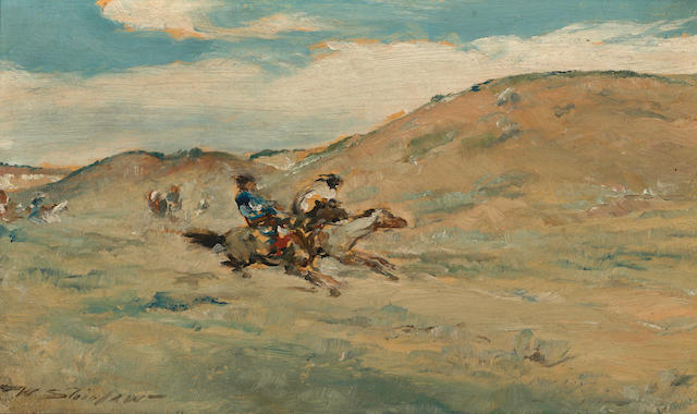 Walter Shirlaw (American, 1838-1909) Crow Horse Race 6 x 10in