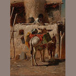 Peter Moran (American, 1841-1914) Afternoon in Zuni, New Mexico 6 x 7 3/4in