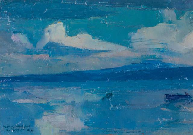Armin Hansen (American, 1886-1957) Monterey Bay and El Toro Mountain, 1921 7 x 10in