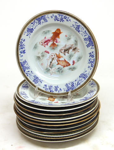 Twelve Chinese porcelain dessert plates first quarter 20th century
