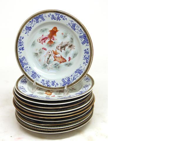 Twelve Chinese porcelain dessert plates