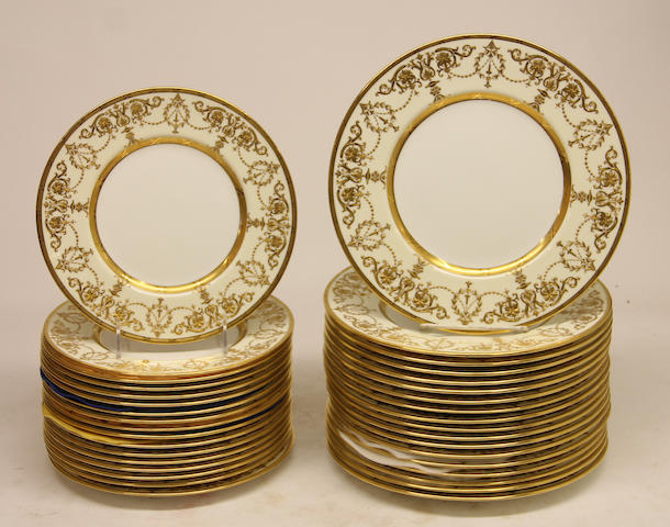 Eighteen Minton bone china dinner plates and seventeen matching salad plates in pattern H3146 Retailed by Davis Collamore & Co. Ltd., New York Date coded 1915